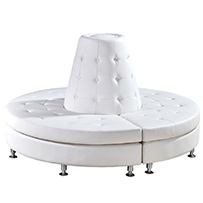 Button Tufted 3 Piece Curved Bench