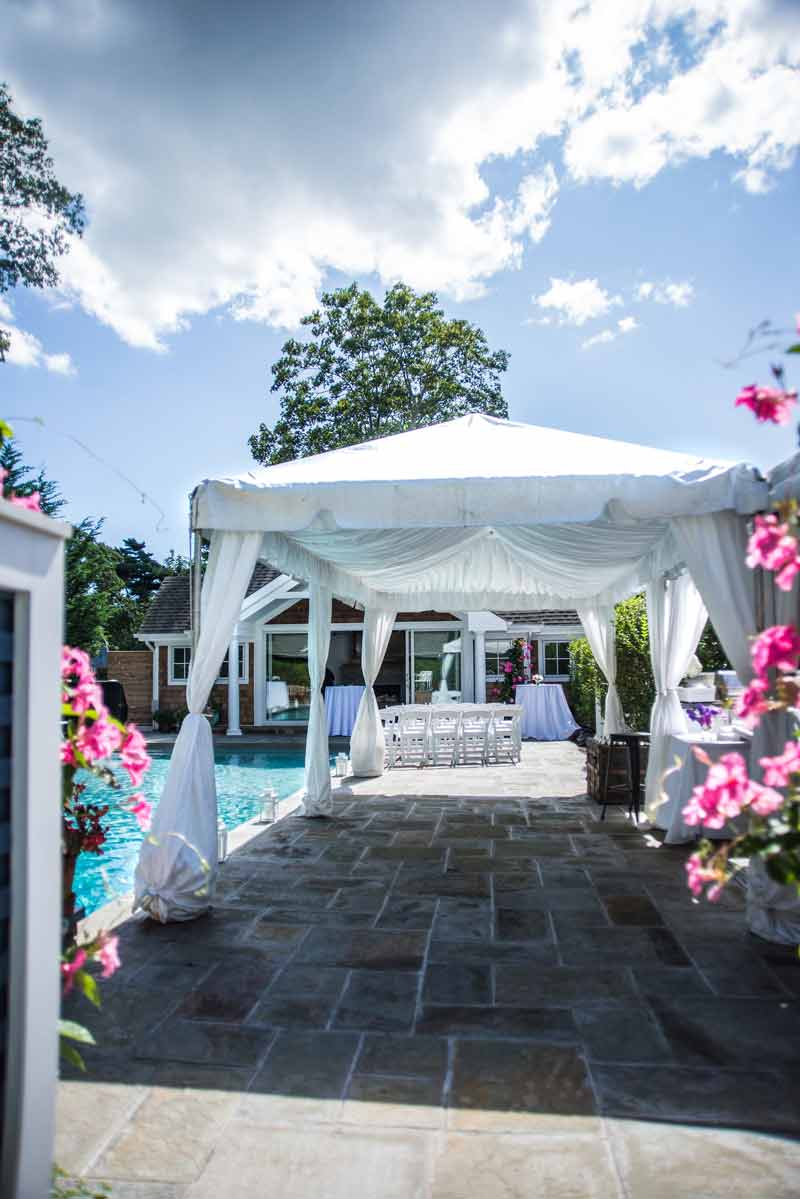 Tent, Lounge, White Dance Floor, Chandeliers, DJ Setup