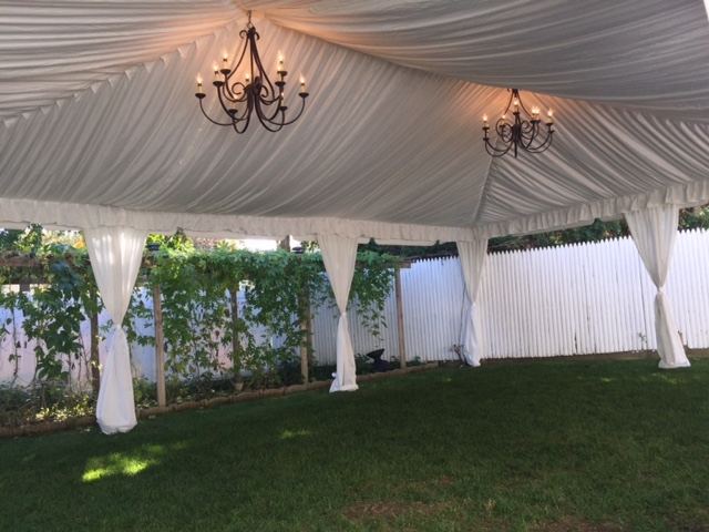 Tent with Chandelier Lighting